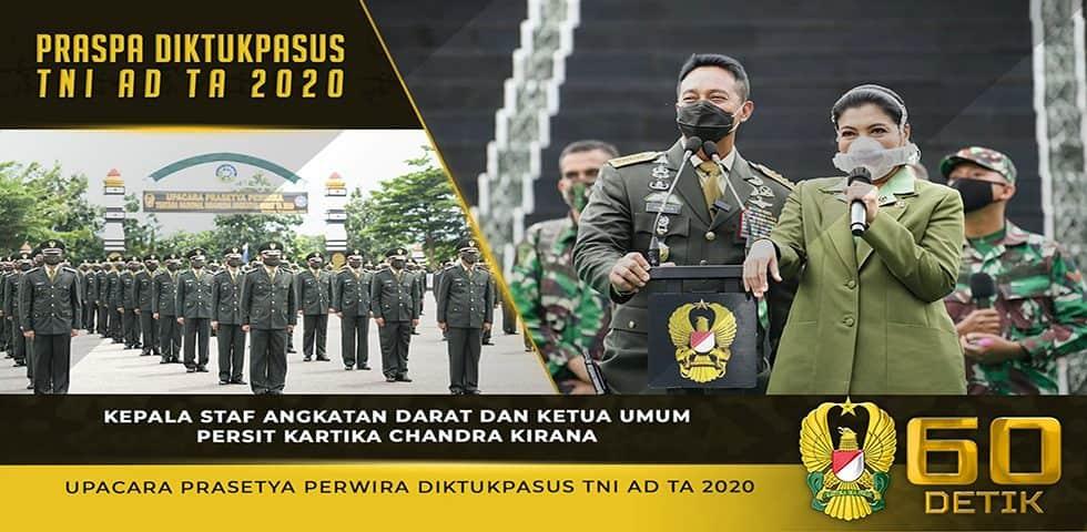 Sambutan dari Anak Berprestasi dan Upacara Prasetya Perwira Diktukpasus TNI AD