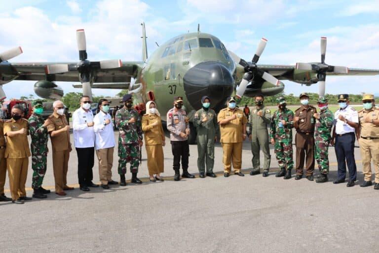 Korem 143/HO Berangkatkan 9,410 Ton Bantuan Korban Sulbar Lewat Hercules