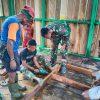 Peduli Pendidikan, Satgas Yonif 312 Rehab Paud dan TK di Pebatasan