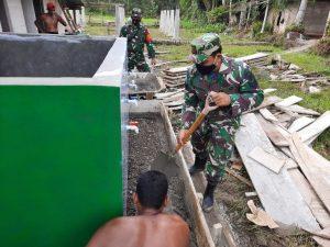 Wujudkan Harapan Santri, Koramil 01 SM Bangun Tempat Wudhu di Dayah Istiqamatuddin
