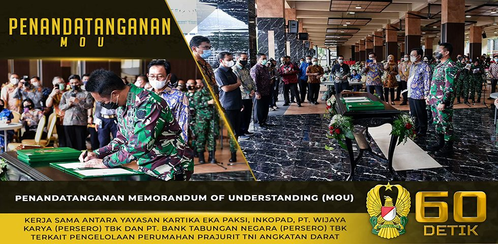 Penandatanganan MoU Terkait Pengelolaan Perumahan Prajurit TNI AD
