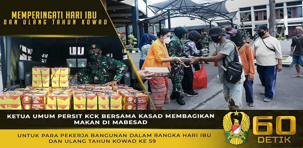 Ketua Umum Persit KCK Membagikan Makanan dalam Rangka Memperingati Hari Ibu dan HUT Kowad