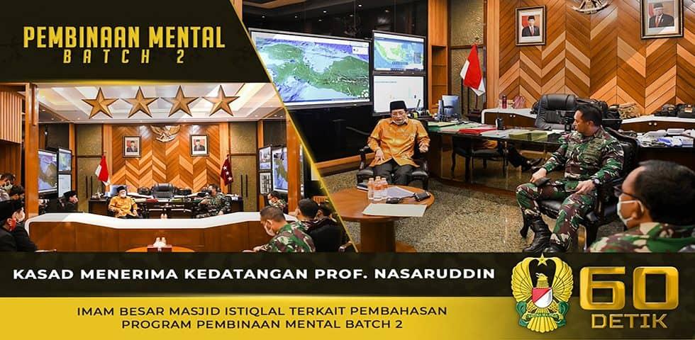 Kasad Menerima Kedatangan Prof. Nasaruddin Umar Terkait Pembahasan Program Pembinaan Mental Batch 2