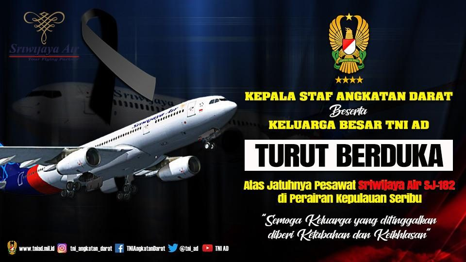Banner Ucapan Duka Jatuhnya Pesawat Sriwijaya Air
