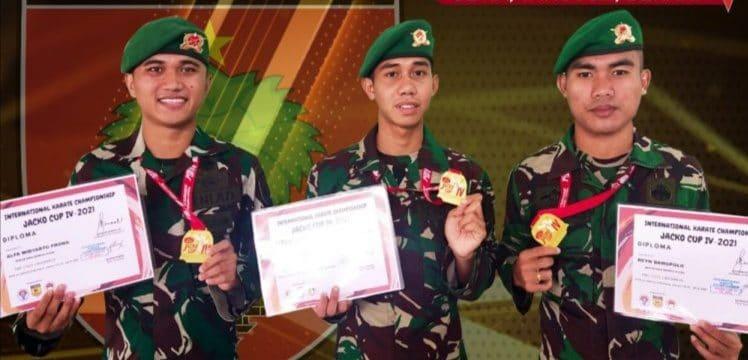 Tiga Karateka Kodam XIV/ Hasanuddin Raih Medali Tingkat Nasional dan Internasional
