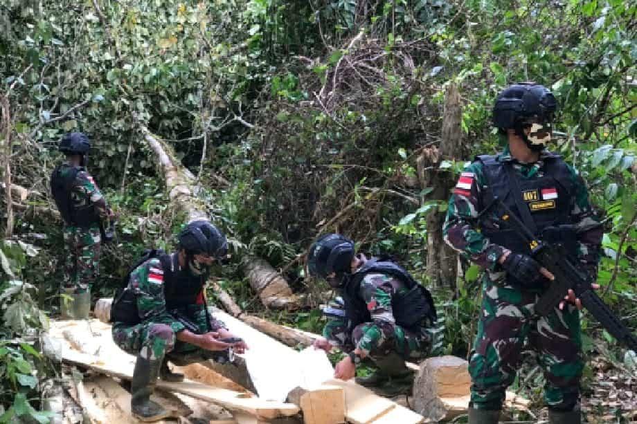 Satgas Yonif 407 Amankan Tumpukan Kayu Olahan di Hutan Lindung Seria