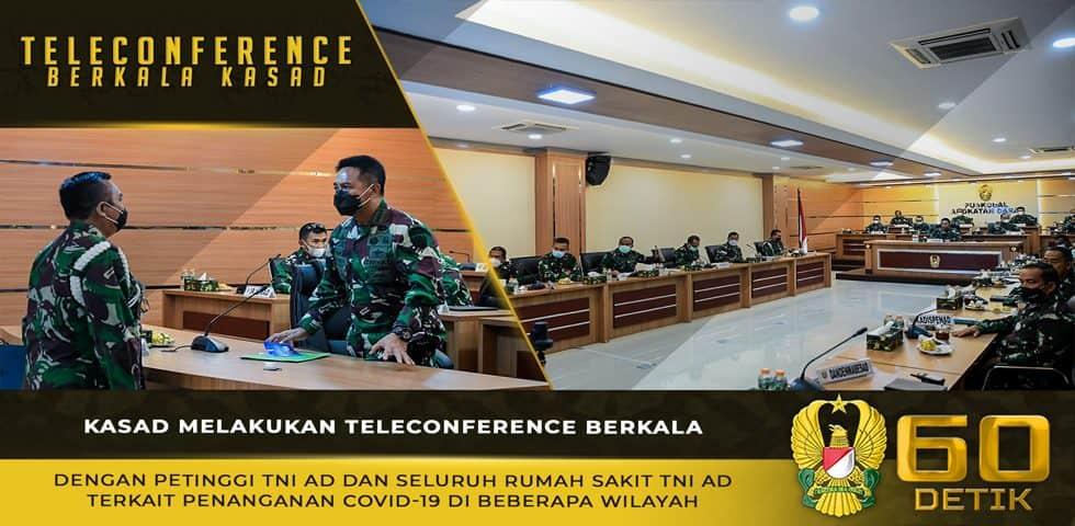 Teleconference Berkala Kasad dengan Petinggi TNI AD dan RS TNI AD Terkait Penanganan Covid-19