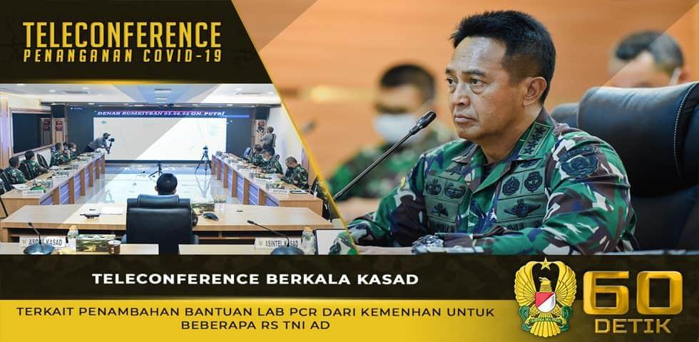 Teleconference Berkala Kasad Terkait Penambahan Bantuan Lab PCR dari Kemenhan untuk RS TNI AD