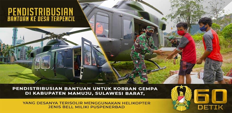 TNI AD Mendistribusikan Bantuan ke Desa Terisolir di Kabupaten Mamuju Menggunakan Helikopter