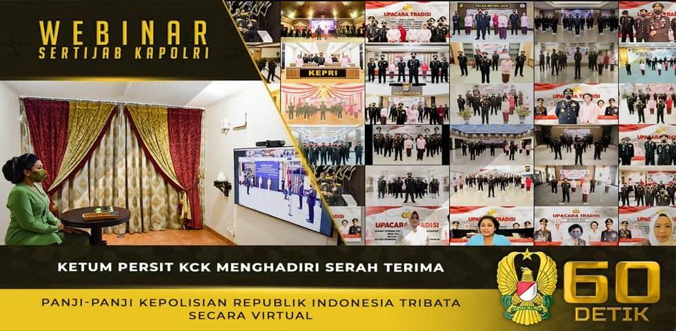 Ketum Persit KCK Kirana Mengikuti Serah Terima Panji-Panji Kepolisian Republik Indonesia Tribata Secara Virtual