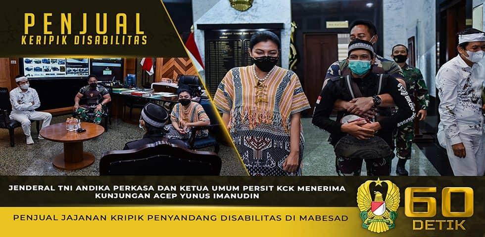 Kasad Beserta Ketua Umum Persit KCK Menerima Kunjungan Acep Yunus Penjual Kripik Disabilitas