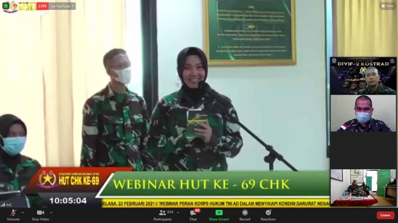 Sambut Hut Korps Hukum Ke-69 TNI AD, Hukum Divif 2 Kostrad Ikuti Webinar