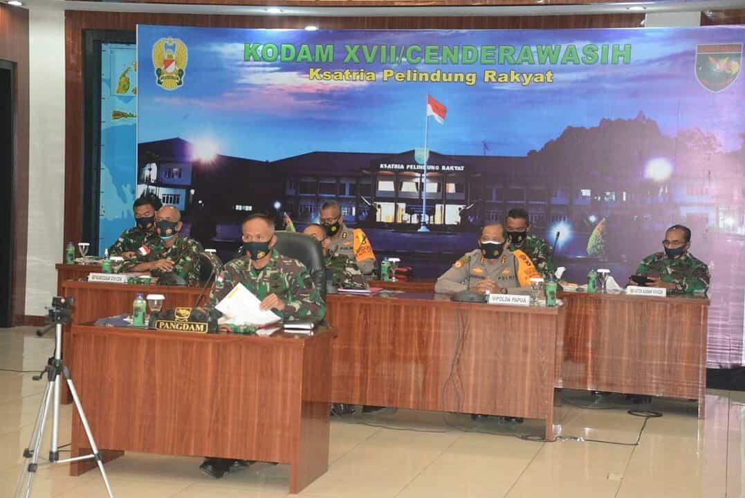 Penanganan Covid-19, Pangdam Cenderawasih Ikuti Rapat Koordinasi Terpusat Secara Virtual