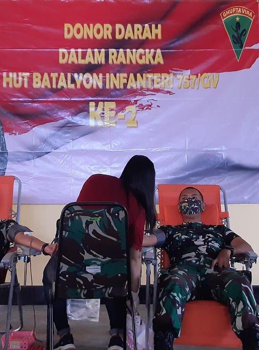 Jelang HUT, Yonif 757/GV Penuhi Stok Darah PMI Merauke