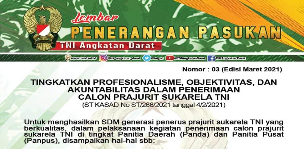 Tingkatkan Profesionalisme, Objektivitas, dan Akuntabilitas Dalam Penerimaan Calon Prajurit Sukarela TNI