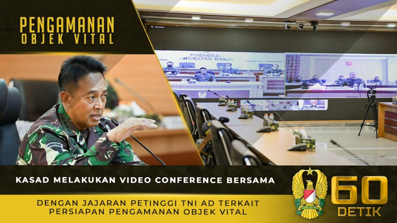 Kasad Melakukan Video Conference Terkait Persiapan Pengamanan Objek Vital