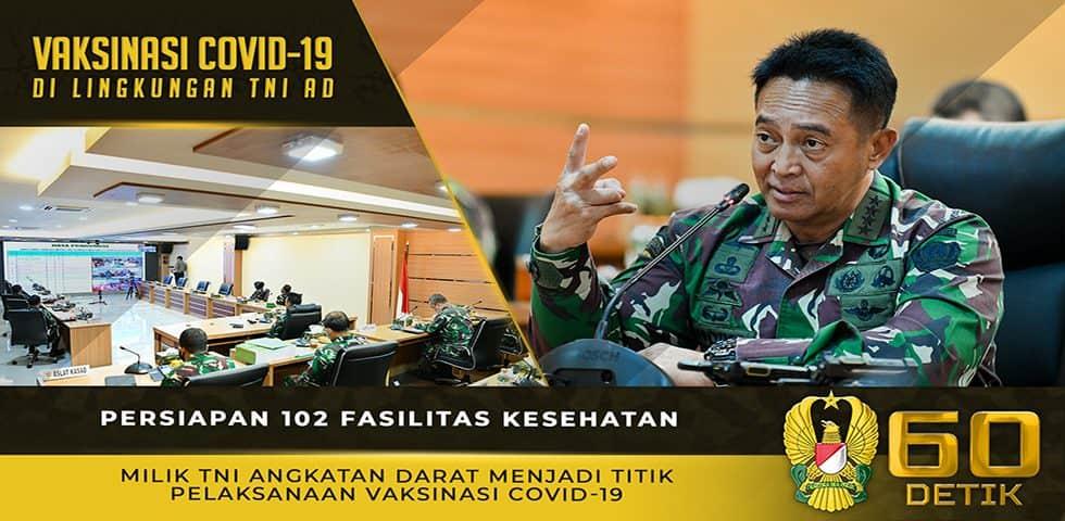 Persiapan 102 Fasilitas Kesehatan Milik TNI AD Menjadi Titik Pelaksanaan Vaksinasi Covid-19