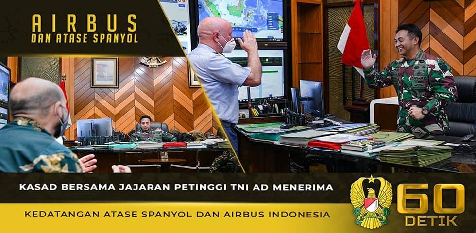 Kasad Menerima Kedatangan Atase Pertahanan Spanyol dan Airbus Indonesia