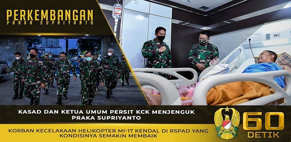 Kasad dan Ketua Umum Persit KCK Menjenguk Praka Supriyanto Korban Kecelakaan Helikopter MI-17