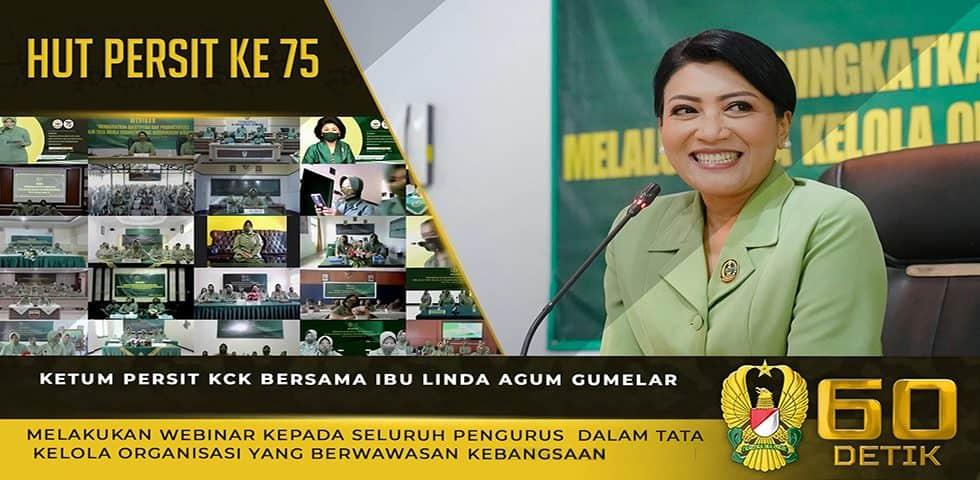 Ketum Persit KCK Bersama Ibu Linda Agum Gumelar Melakukan Webinar Kepada Seluruh Pengurus Persit