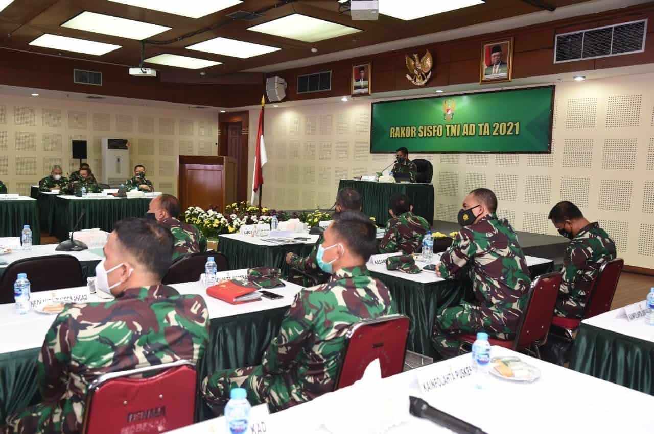 Srenaad Gelar Rakor Sistem Informasi Terintegrasi TNI AD TA 2021