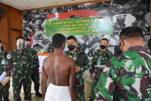 Danrem 174 Merauke Pimpin Sidang Parade Cata PK TNI AD Gelombang I TA. 2021 Sub Panda Korem 174/ATW