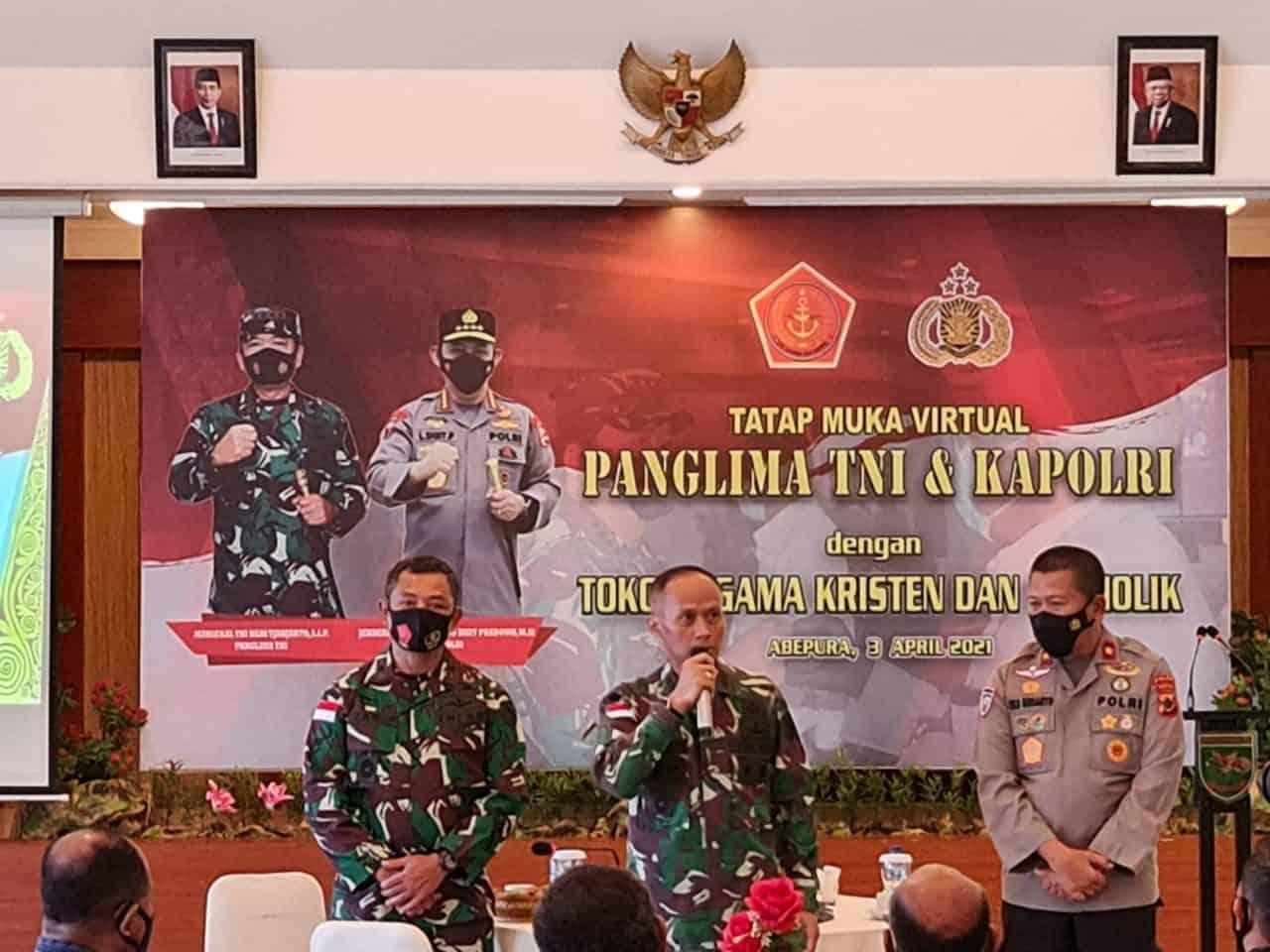 Panglima TNI Tatap Muka Virtual Dengan Jajaran Kodam XVII/Cenderawasih Bersama Tokoh Agama Papua