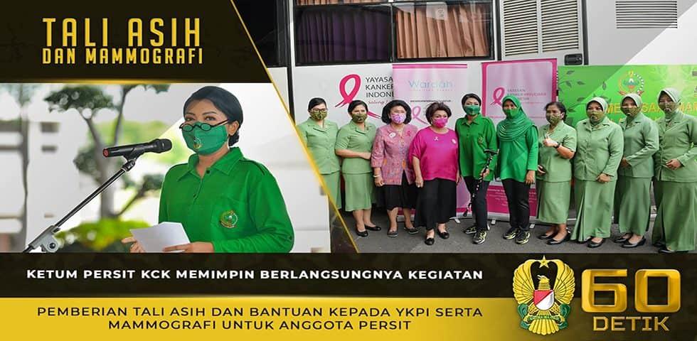 Ketum Persit KCK Memberikan Tali Asih kepada YKPI Serta Mammografi untuk Anggota Persit