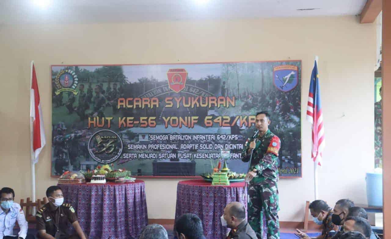 Satgas Yonif 642 Rayakan HUT Ke-56 Secara Sederhana di Perbatasan RI-Malaysia