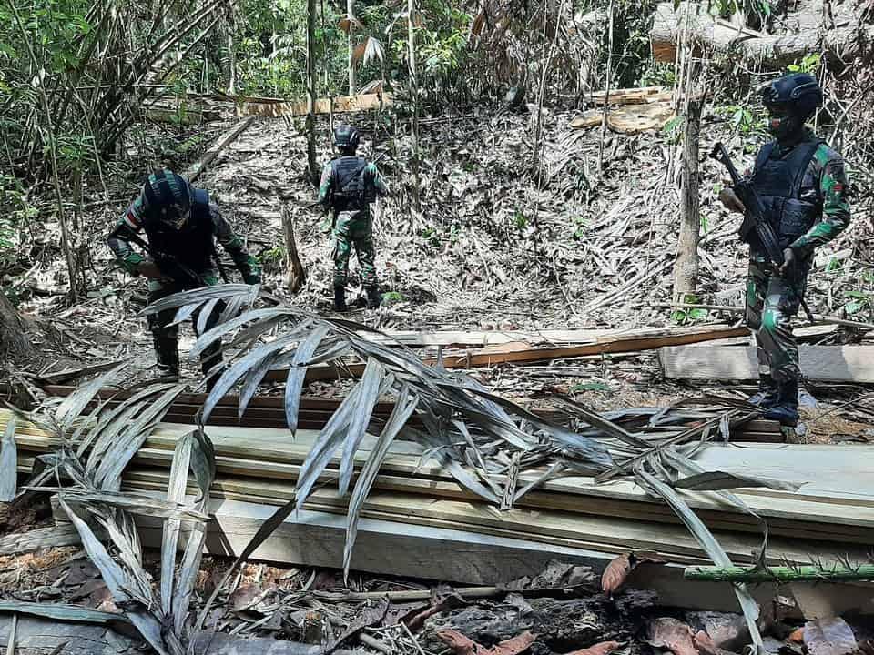 Diduga Hasil Pembalakan Liar, Satgas Yonif 642 Amankan Kayu Olahan di Hutan Jagoi Babang