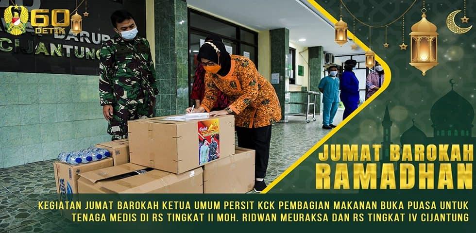 Kegiatan Jumat Barokah Ketua Umum Persit KCK Pembagian Makanan Buka Puasa untuk Tenaga Medis