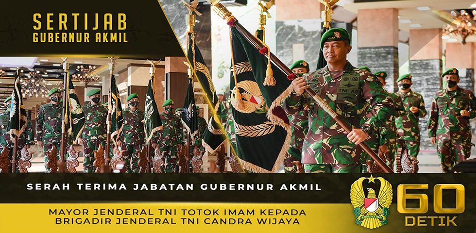 Serah Terima Jabatan Gubernur Akmil Mayjen TNI Totok Imam kepada Brigjen TNI Candra Wijaya