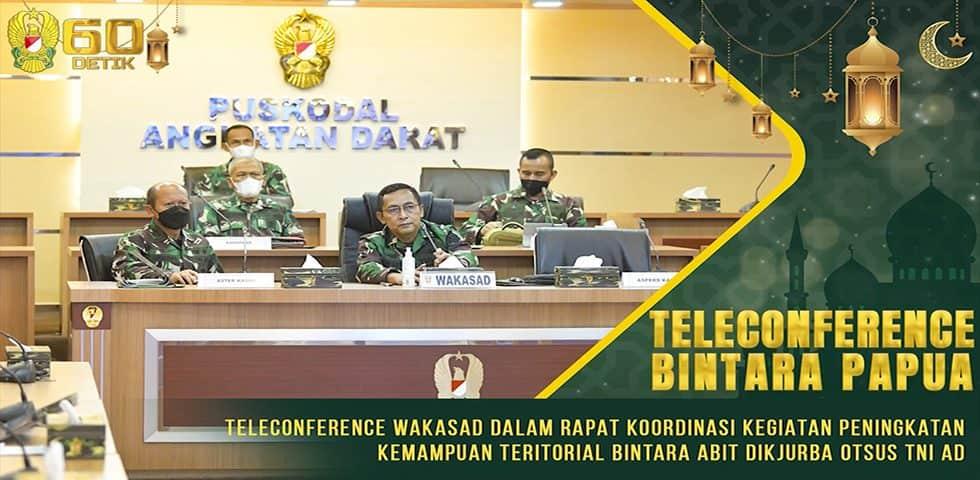 Teleconference Rapat Koordinasi Peningkatan Kemampuan Teritorial Bintara Abit Dikjurba Otsus TNI AD