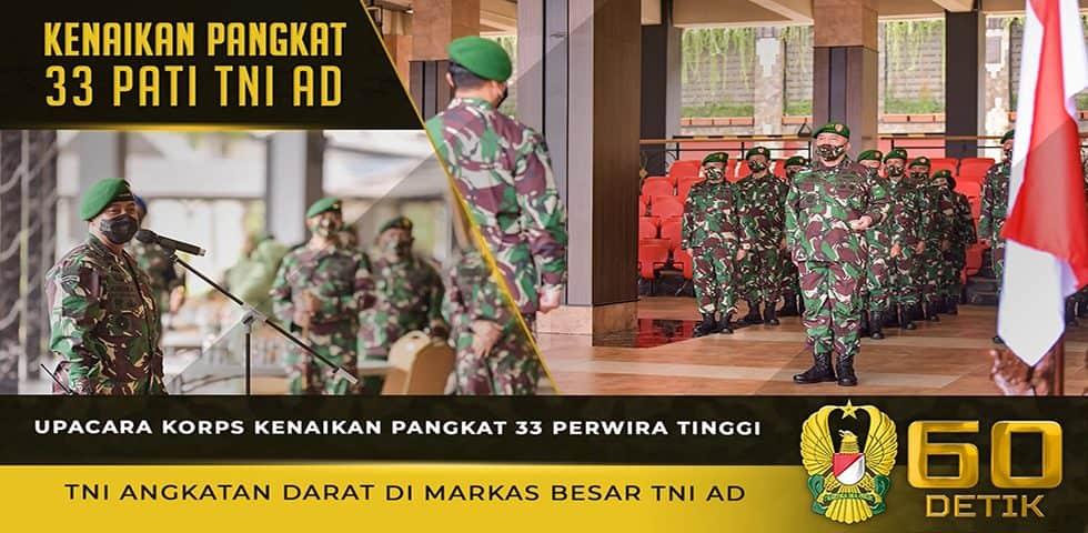 Upacara Korps Kenaikan Pangkat 33 Perwira Tinggi TNI Angkatan Darat di Markas Besar TNI AD