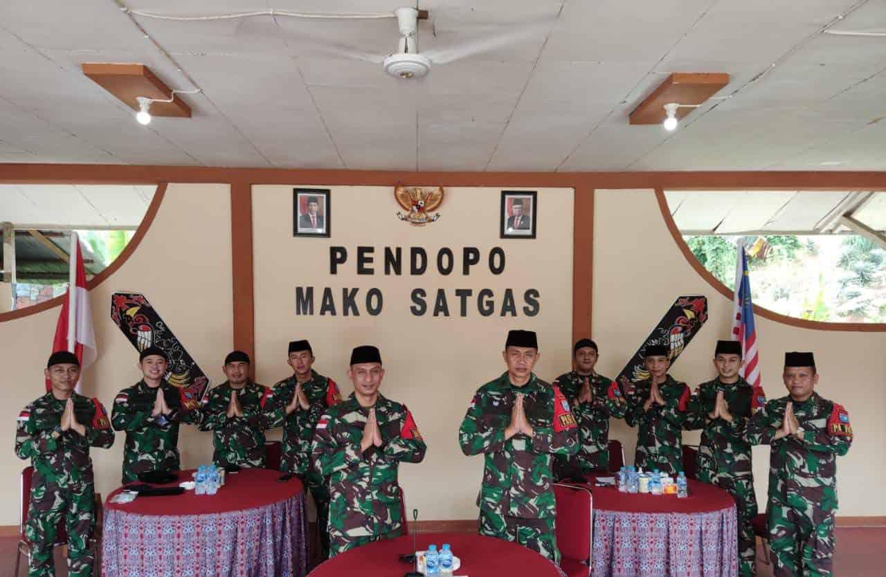 Satgas Yonif 642 Ikuti Halal Bihalal Virtual Satuan Jajaran Kodam XII Tanjungpura