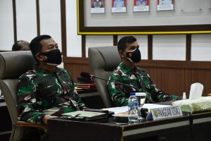 Pangdam II/Swj Ikuti Vicon Dengan Panglima TNI Evaluasi PPKM Skala Mikro