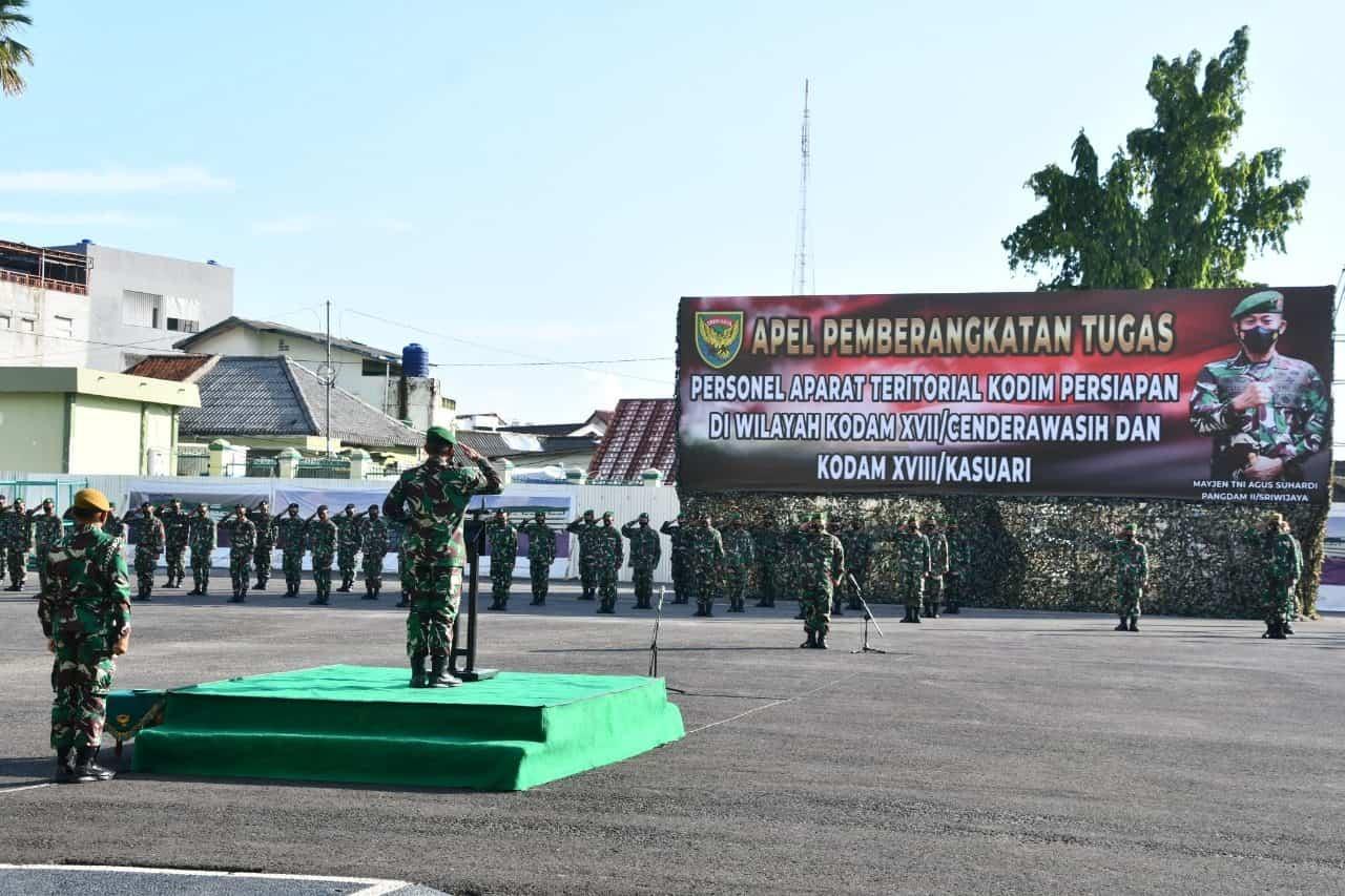 Kodam II/Sriwijaya Berangkatkan Personel Satgas Bko Apter Ke Wilayah Indonesia Timur