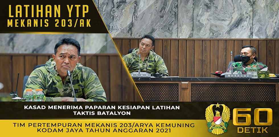 Kasad Menerima Paparan Kesiapan Latihan Taktis YTP Mekanis 203/AK Kodam Jaya TA. 2021