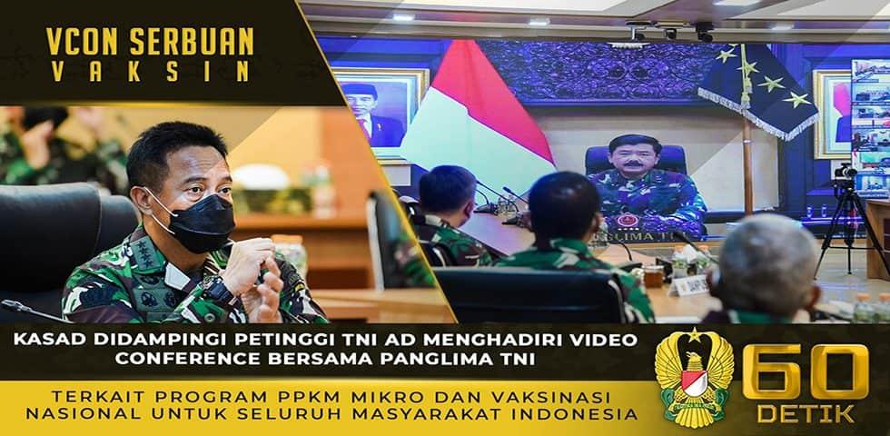 Kasad Menghadiri Vicon Bersama Panglima TNI Terkait Program PPKM Mikro dan Vaksinasi Nasional