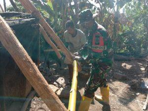 Satgas Pamtas Yonarmed 6/3 Gotong Royong Bantu Bangun Rumah Adat Warga NTT