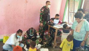 Berikan pelayanan Kesehatan di Tapal Batas Papua, Dokter Satgas Yonif 512/QY Terjun ke Lapangan