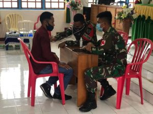Satgas Yonarmed 6/3 Sosialisasikan Prokes Covid-19 di Perbatasan RI-RDTL