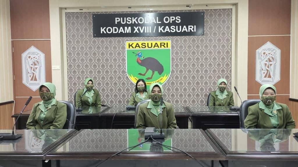 Kodam XVIII/Kasuari Ikuti Vicon Upacara Prasetya Perwira Lulusan Diktukpa TNI AD 2021