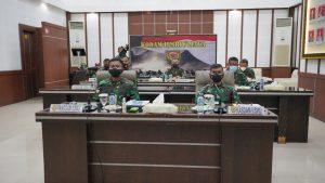 Pangdam II/Sriwijaya Ikuti Rapat Vicon Dengan Panglima TNI Penanganan Covid – 19