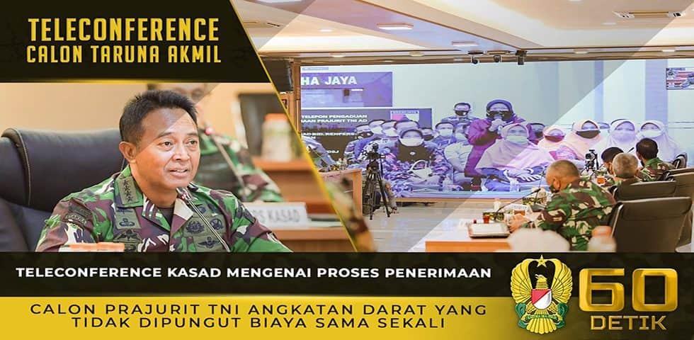 Teleconference Kasad Mengenai Proses Penerimaan Calon Prajurit TNI Angkatan Darat