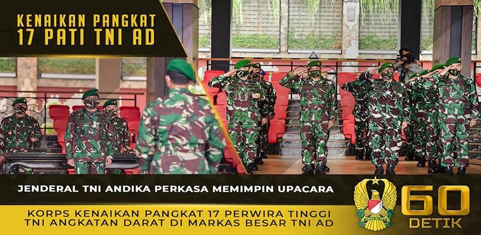 Kasad Memimpin Upacara Korps Kenaikan Pangkat 17 Perwira Tinggi TNI Angkatan Darat di Mabesad