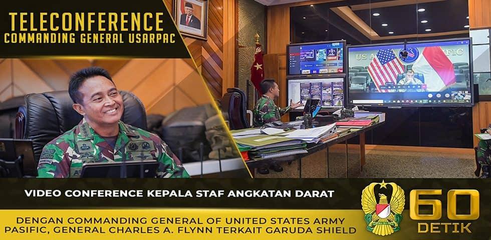 Video Conference dengan Commanding General of USARPAC Terkait Garuda Shield
