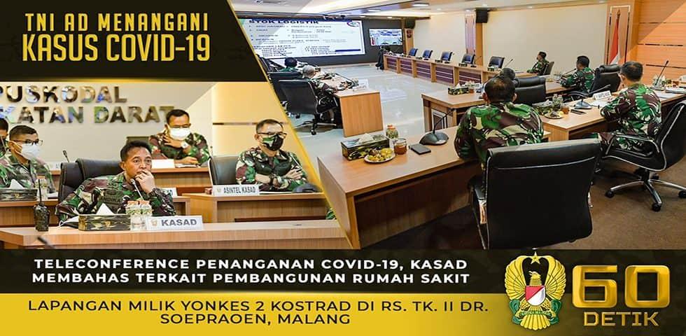 Teleconference Kasad Terkait Pembangunan RS Lapangan Yonkes 2 Kostrad di RS Tk. II dr. Soepraoen