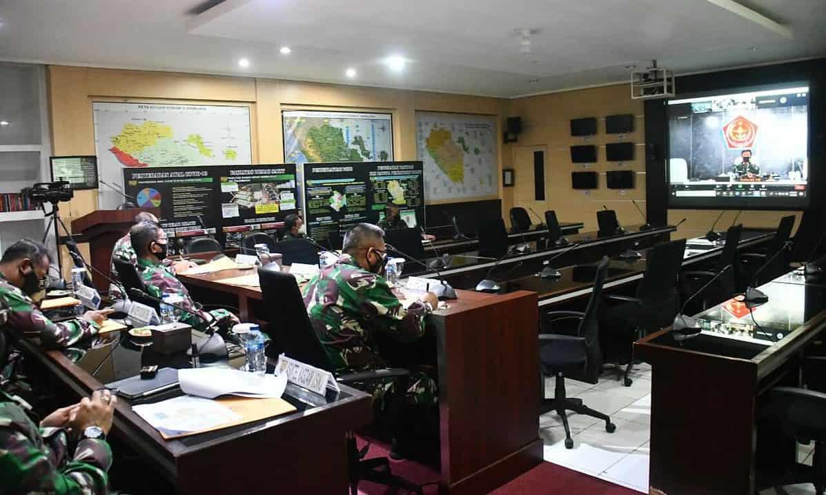 Evaluasi Program Serbuan Vaksinasi Dan Rencana PPKM Darurat di Jawa – Bali, Pangdam II/Sriwijaya Vicon Dengan Panglima TNI