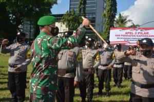 Apel Siaga Tiga Pilar, Danrem 162/WB Pastikan Kesiapan PPKM Darurat di Mataram